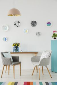 Creative Living Room Interior with Plates