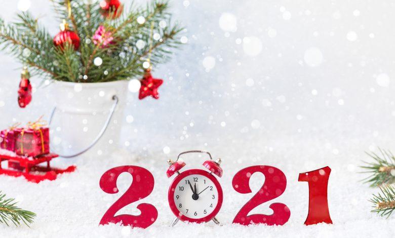 Happy New Year 2021. Holiday card, Christmas carnival invitation.