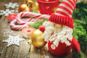 Santa Claus and Christmas ball. Merry Christmas.