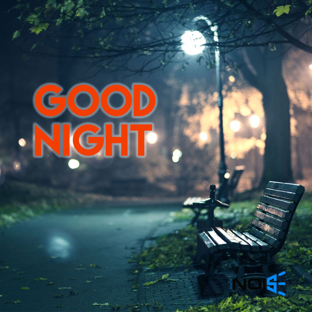 Good Night whatsapp dp pics : Street light & Bench in Dark Night